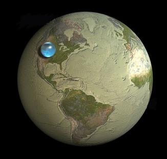 tierra con una gota de agua